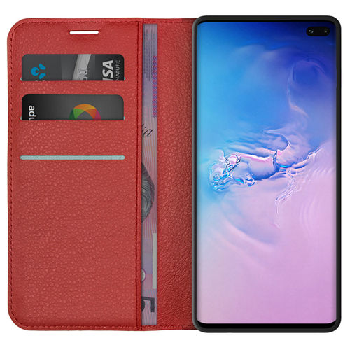 Leather Wallet Case & Card Holder Pouch for Samsung Galaxy S10+ (Red)